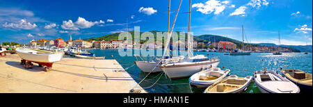 Stari Grad on Hvar island panoramic view, Dalmatia, Croatia - Stock Photo
