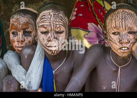 Young boys of Bume or Niyangatong Tribe - Stock Photo