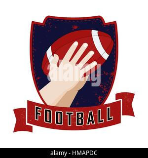 Illustration of an american football player catching a ball. Grunge retro style logo - Stock Photo