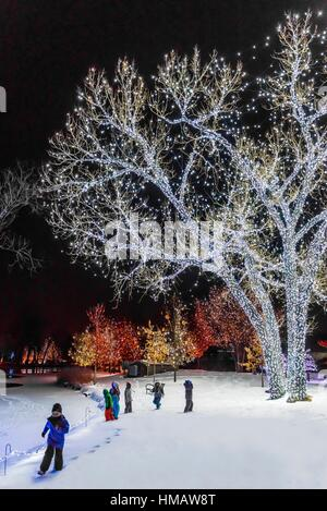 Children Playing In Snow A Hudson Christmas Holiday Light Show At Stock Photo 94859926 Alamy