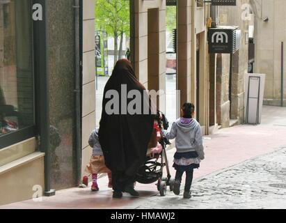 Muslim immigration in Lleida, Spain - Stock Photo