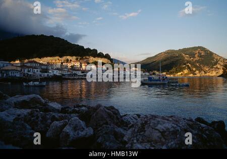 The bay of Parga, fishing vessels at sea, Epirus, Greece. - Stock Photo