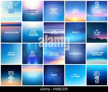 Big Set Of 20 Square Blurred Nature Backgrounds With