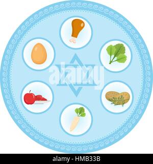 Seder plate of food, flat style. Jewish holiday  Passover. Isolated on white background. Vector illustration - Stock Photo