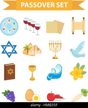 Passover icons set. flat, cartoon style. Jewish holiday of exodus Egypt. Collection with Seder plate, meal, matzah, - Stock Photo