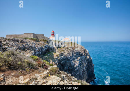 Portugal, Algarve, lighthouse of Cape Saint Vincent (Cabo de Sao Vicente), the southwesternmost point of Europe - Stock Photo