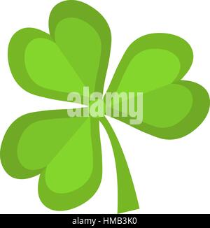 Clover, icon flat style. St. Patrick s Day symbol. Isolated on white background. Vector illustration. - Stock Photo