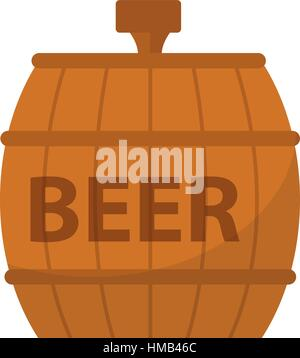 Beer Barrel, icon flat style. Isolated on white background. Vector illustration. - Stock Photo