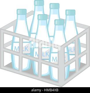 Milk in iron box icon flat style. Isolated on white background. Vector illustration. - Stock Photo