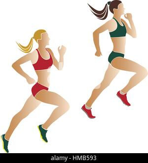 two women athletes runners color silhouettes - Stock Photo