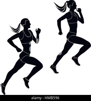 two women athletes runners running competition black silhouettes - Stock Photo