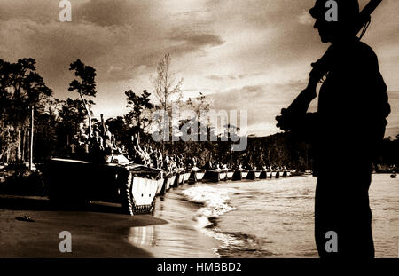 'Water Buffalo' (amphibious tanks) line up for invasion of Cape Sansapor at the western end of Dutch New Guinea. - Stock Photo