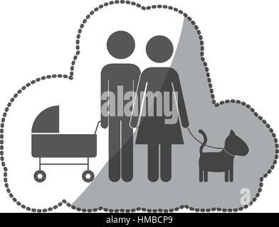 Cute family pictogram icon vector illustration graphic design - Stock Photo