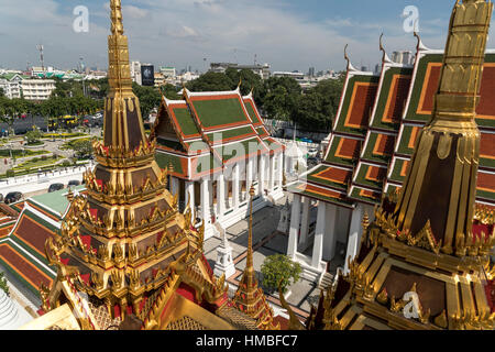 Wat Ratchanatdaram buddhist temple complex,  Bangkok, Thailand, Asia - Stock Photo