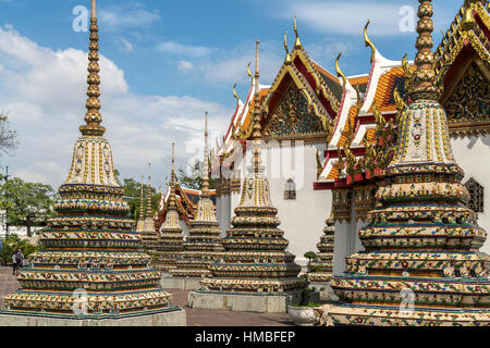 Chedi of the buddhist temple complex Wat Pho, Bangkok, Thailand, Asia - Stock Photo