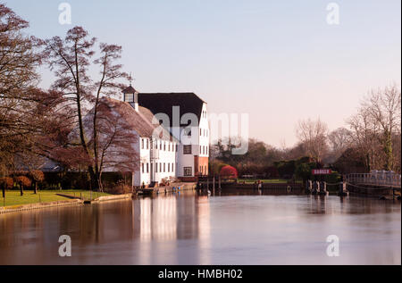 Hambleden Mill on the River Thames in Buckinghamshire between Henley-on-Thames and Marlow - now apartments - Stock Photo