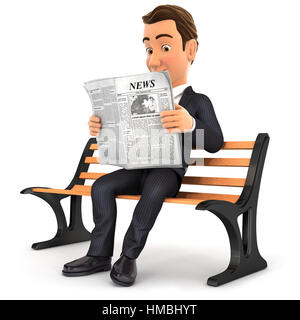 3d businessman reading newspaper on public bench, illustration with isolated white background - Stock Photo