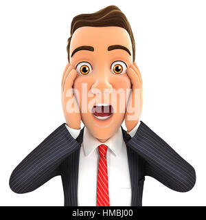 3d businessman surprise expression, illustration with isolated white background - Stock Photo