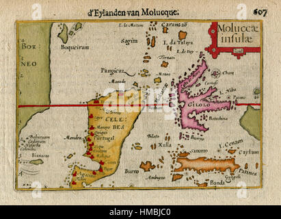 1606  Antique Map  of E. INDIES, INDONESIA, MOLUCCA Is. CELEBES - Stock Photo