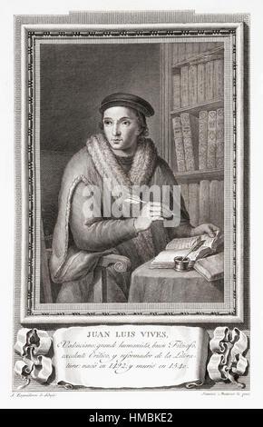 Juan Luis Vives, 1493 –1540.  Spanish scholar and humanist.  After an etching in Retratos de Los Españoles Ilustres, - Stock Photo