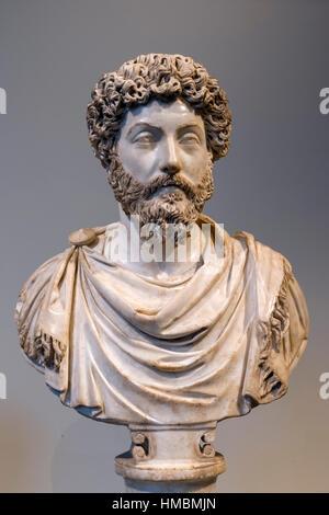 Marble head of Roman Emperor Marcus Aurelius (AD 121 - AD 180) c.161-169 AD - Stock Photo