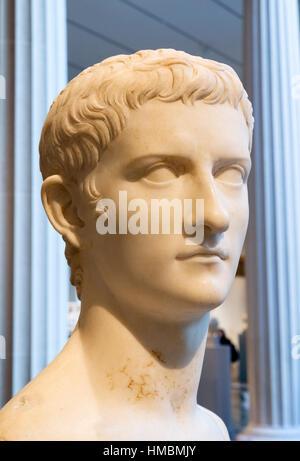 Caligula. Marble head of Emperor Gaius Julius Caesar Augustus Germanicus (AD 12-AD 41), c.37-41 AD - Stock Photo