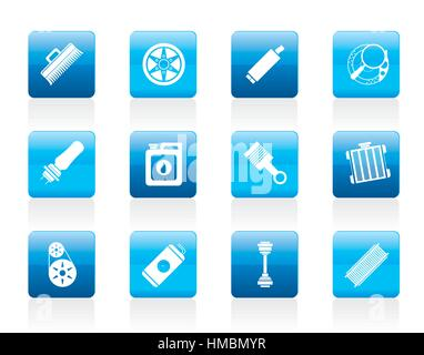 Realistic Car Parts and Services icons - Stock Photo