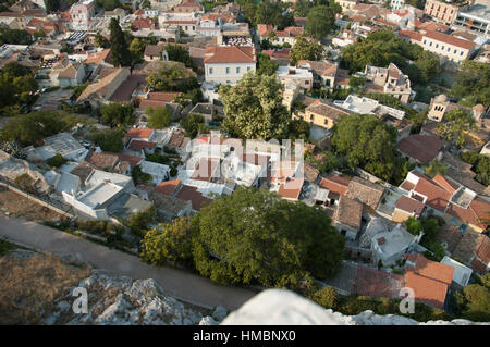 Aerial view of white painted narrow streets and small houses in the traditional Anafiotika neighborhood of Plaka, - Stock Photo
