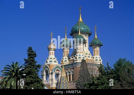 St Nicholas Russian Orthodox Cathedral, Nice, Alpes-Maritimes department, Provence-Alpes-Cote d´Azur region, France, - Stock Photo