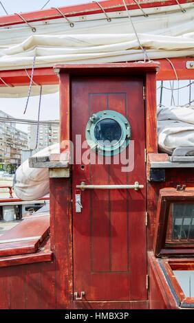 Hatch a sailboat, galleon. Basque Country. Spain - Stock Photo