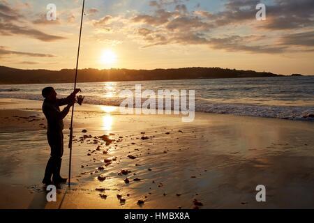 Beach, Hendaye, Aquitaine, Pyrenees Atlantiques, France. - Stock Photo