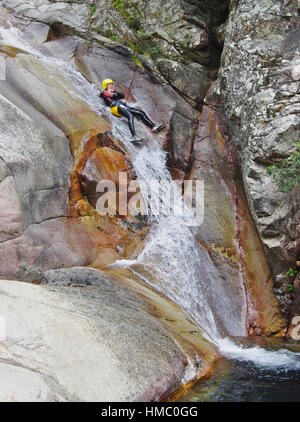 BAVELLA,FR-CIRCA AUGUST 2014 - Canyoning in Purcaraccia River. - Stock Photo