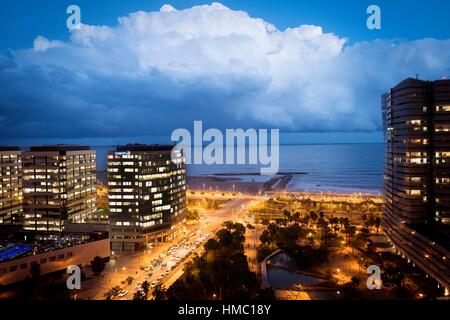 Evening view of a residential buildings on the sea front, in Diagonal Mar, Barcelona, Catalonia, Spain, Europe. - Stock Photo