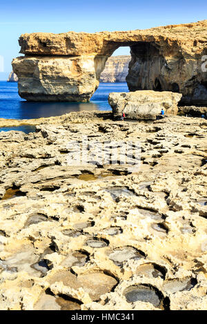 eroded rock and the natural arch of the azure window, gozo, malta - Stock Photo