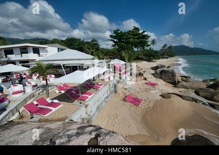 Along the beach in Lamai on Koh Samui island, Thailand. - Stock Photo