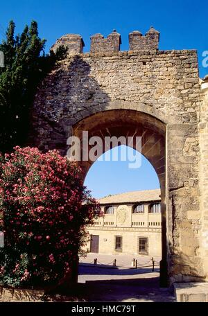 Jaen gate and Populo Square. Baeza, Jaen province, Andalucia, Spain. - Stock Photo