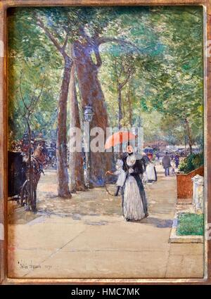 '''Fifth Avenue at Washington Square, New York'', 1891, Childe Hassam, Thyssen-Bornemisza Museum, Madrid, Spain - Stock Photo
