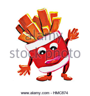 Painting french fries man character on white background - Stock Photo