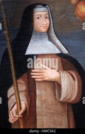 Sainte-Brigitte de Suède, patronne des Pèlerins. Huile sur toile. WVIII ème siècle. Musée d'Art Sacré de Saint Nicolas - Stock Photo