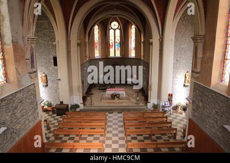 Choeur. Eglise Sainte-Marie Madeleine. Praz-sur-Arly. France. - Stock Photo