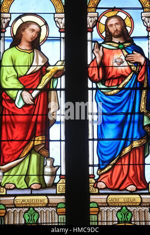 Sainte-Madeleine et Jésus-Christ. Coeur Sacré. Eglise Sainte-Marie Madeleine. Praz-sur-Arly. France. - Stock Photo