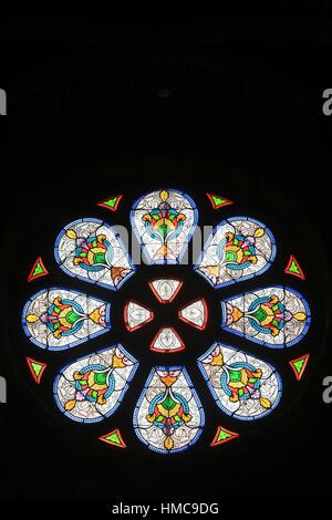 Rosace. Eglise Sainte-Marie Madeleine. Praz-sur-Arly. France. - Stock Photo