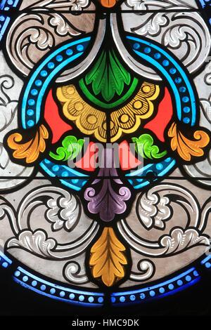 Vitrail. Eglise Sainte-Marie Madeleine. Praz-sur-Arly. France. - Stock Photo