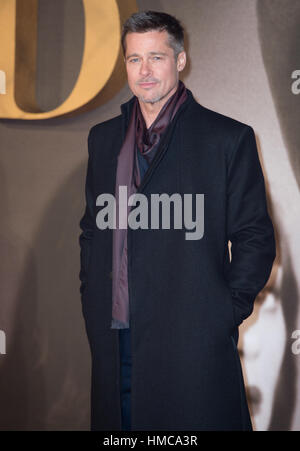 Bradt Pitt attends the Allied Premire London - Stock Photo