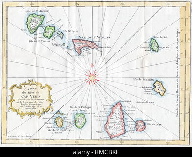 1757 Attractive Bellin Map of Cape Verde Islands - Stock Photo