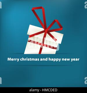 Blue christmas card with gift. + EPS8 vector file - Stock Photo
