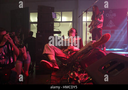 PRAGUE, CZECH REPUBLIC - JUNE 25, 2016: Lias Kaci Saoudi of English rock band Fat White Family performs live during - Stock Photo
