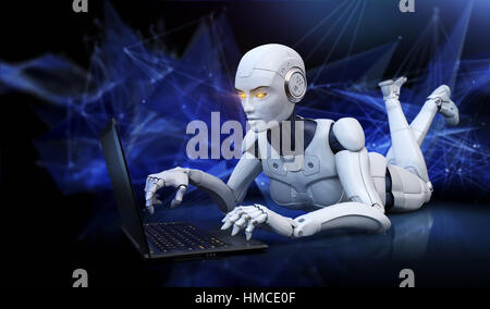 Robot lying on floor and using laptop. 3D illustration - Stock Photo