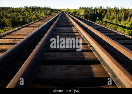 Early morning light on the Pouce Coupe trestle near Dawson Creek, British Columbia. The trestle was built in 1931 - Stock Photo