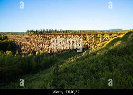 The historic railroad trestle in Pouce Coupe, near Dawson Creek, British Columbia. The trestle was built by the - Stock Photo